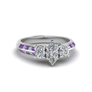 marquise cut 3 stone channel accent diamond engagement ring with purple topaz in FD8313MQRGVITO NL WG
