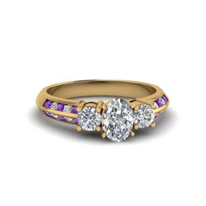 oval shaped 3 stone channel accent diamond engagement ring with purple topaz in FD8313OVRGVITO NL YG