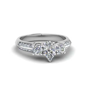 pear shaped 3 stone channel accent diamond engagement ring in FD8313PER NL WG
