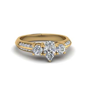 e02548650 3 Stone Channel Accent Diamond Ring Pear Shaped diamond 3 Stone Engagement  Rings with White Diamond in 14K Yellow Gold [ Setting + Center Stone ]