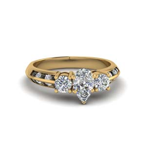 pear shaped 3 stone channel accent engagement ring with black diamond in FD8313PERGBLACK NL YG