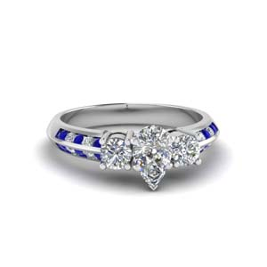 pear shaped 3 stone channel accent diamond engagement ring with sapphire in FD8313PERGSABL NL WG