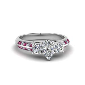 pear shaped 3 stone channel accent diamond engagement ring with pink sapphire in FD8313PERGSADRPI NL WG