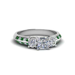 3 Stone Channel Accent Emerald Ring