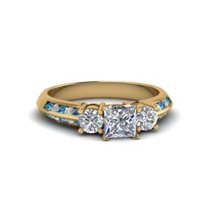 princess cut 3 stone channel accent diamond engagement ring with blue topaz in FD8313PRRGICBLTO NL YG