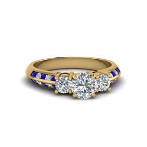 round cut 3 stone channel accent diamond engagement ring with sapphire in FD8313RORGSABL NL YG