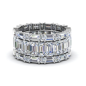 emerald cut eternity band with matching baguette and round in FD8331B NL WG
