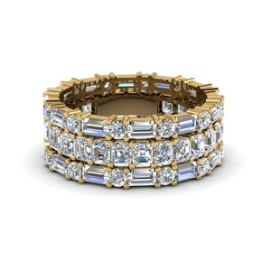 asscher eternity matching band baguette and round in 14K yellow gold FD8335B NL YG