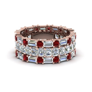 asscher eternity matching band baguette and round with ruby in 14K rose gold FD8335BGRUDR NL RG