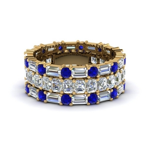 asscher eternity matching band baguette and round with sapphire in 14K yellow gold FD8335BGSABL NL YG