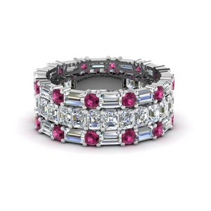 asscher eternity matching band baguette and round with pink sapphire in 950 platinum FD8335BGSADRPI NL WG
