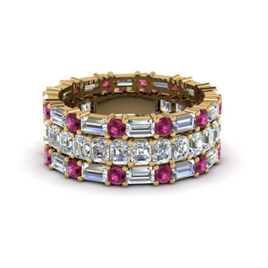 asscher eternity matching band baguette and round with pink sapphire in 14K yellow gold FD8335BGSADRPI NL YG