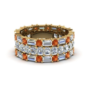 asscher eternity matching band baguette and round with orange sapphire in 14K yellow gold FD8335BGSAOR NL YG