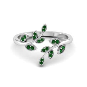 open leaf emerald engagement ring in FD8342GEMGR NL WG GS