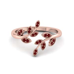 open leaf ruby engagement ring in FD8342GRUDR NL RG GS