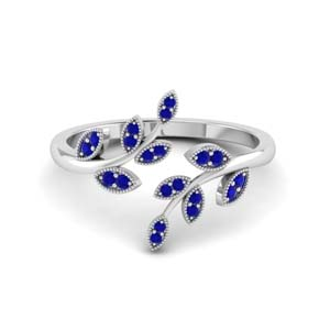 open leaf sapphire engagement ring in FD8342GSABL NL WG GS