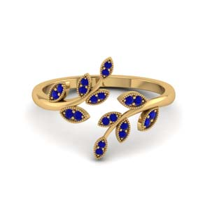 open leaf sapphire engagement ring in FD8342GSABL NL YG GS