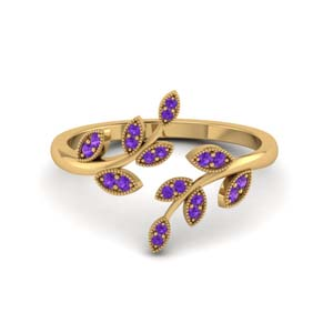 open leaf violet topaz engagement ring in FD8342GVITO NL YG GS