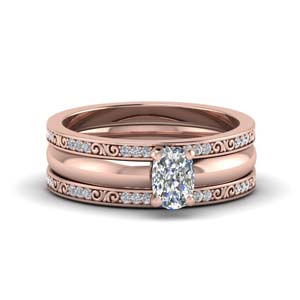 cushion cut 3 piece diamond filigree bridal set in 14K rose gold FD8352TCU NL RG