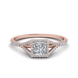 Split Square Halo Diamond Ring