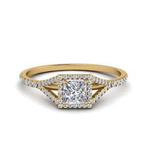 princess cut square split diamond halo engagement ring in 14K yellow gold FD8360PRR NL YG