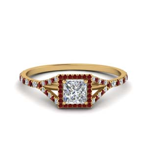 Princess Cut Ruby Halo Rings