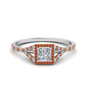 Square Halo Orange Sapphire Ring