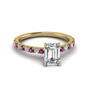 Emerald Cut Rings With Pink Sapphire