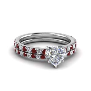 Ruby Heart Diamond Ring Set