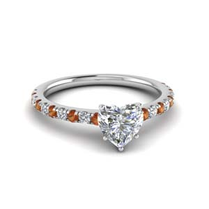 Orange Sapphire Heart Ring