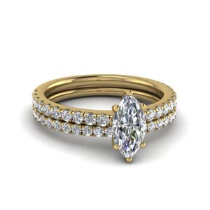 U Prong Lab Diamond Wedding Set