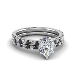 Platinum Pear Diamond Ring Set