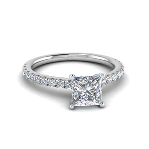 2.30 Ct. Princess Cut Diamond Petite Ring