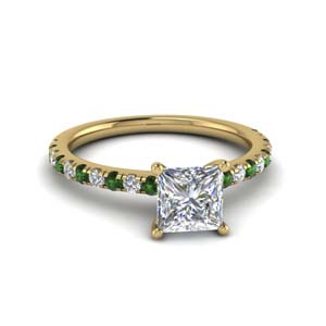 princess cut u prong diamond engagement ring with emerald in FD8362PRRGEMGR NL YG