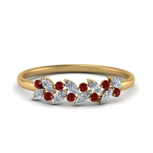 Ruby With Marquise Diamond Band