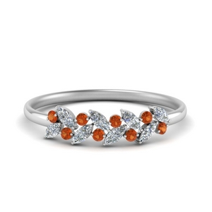 Nature Inspired Orange Sapphire Wedding Ring