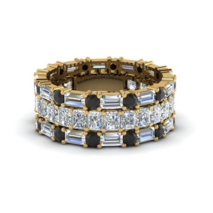 3 piece eternity anniversary band with black diamond in 14K yellow gold FD8377BGBLACK NL YG