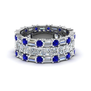 3 piece diamond eternity anniversary band with sapphire in 950 platinum FD8377BGSABL NL WG
