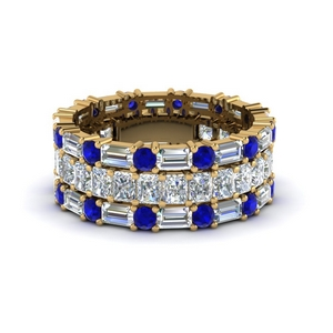 3 piece diamond eternity anniversary band with sapphire in 14K yellow gold FD8377BGSABL NL YG