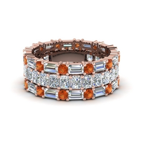 3 piece diamond eternity anniversary band with orange sapphire in 18K rose gold FD8377BGSAOR NL RG