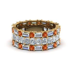 3 piece diamond eternity anniversary band with orange sapphire in 14K yellow gold FD8377BGSAOR NL YG