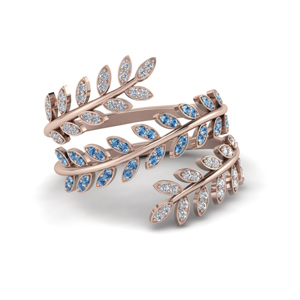 Blue Topaz Leaf Spiral Ring
