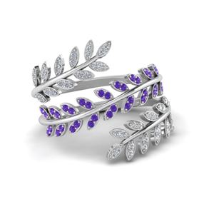 Leaf Spiral Ring With Purple Topaz