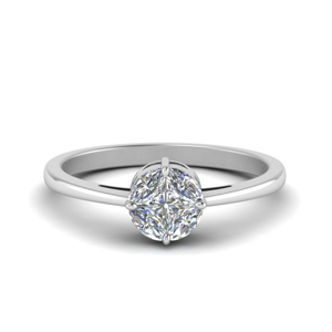 invisible set round diamond ring in 18K white gold FD8393R NL WG