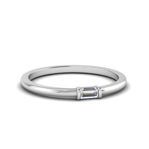 Platinum Horizontal Baguette Ring