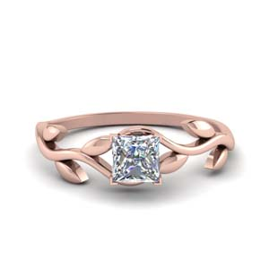 Single Diamond Leaf Ring