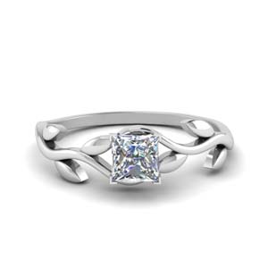 princess cut nature inspired single diamond leaf engagement ring in FD8400PRR NL WG