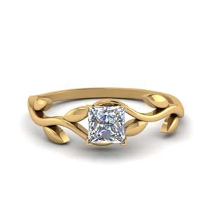 Solitaire Diamond Leaf Ring