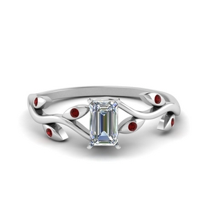 Vintage Emerald Cut Ruby Engagement Rings