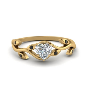Gold Heart Black Diamond Ring